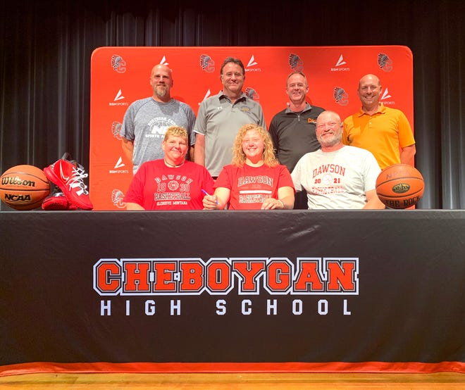 Cheboygan's Isabelle Buhr will play women's basketball at Dawson Community College (Mont.) next season. Among those in attendance for a special ceremony for Buhr on Monday were parents, Steve and Beth Buhr, Cheboygan varsity girls basketball coach Barry Salter, travel coaches Paul Koepke and Mike Meriwether, and Cheboygan High School athletic director Jason Friday.