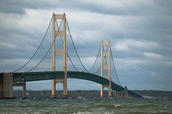 The Mackinac Bridge is seen looking northward from Mackinaw City.