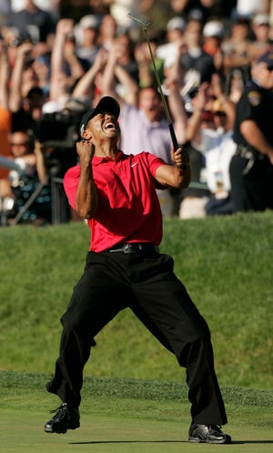 Tiger Woods making birdie to force an 18-hole playoff against Rocco Mediate in the 2008 U.S. Open is one of the seminal moments in major-championship history. But Woods won't be playing this week when the Open returns to Torrey Pines.