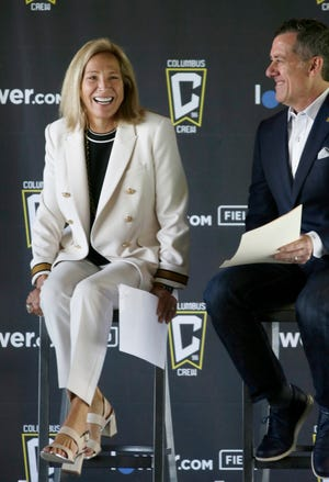 Columbus Crew co-owner Dee Haslam appears at an event to name the stadium Lower.com Field on Tuesday, June 15, 2021. At right is executive vice president Steve Lyons.