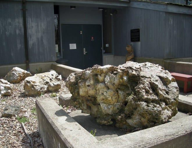 Flint boulders sit outside the museum at Flint Ridge near Brownsville, Ohio.