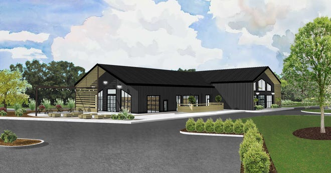 A rendering of Retreat 21's winery production and private event building
