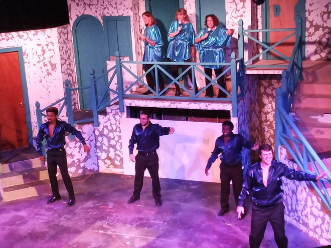 """The cast of """"Mamma Mia"""" performed a song and dance for the audience.  """"Mamma Mia"""" opens June 25."""