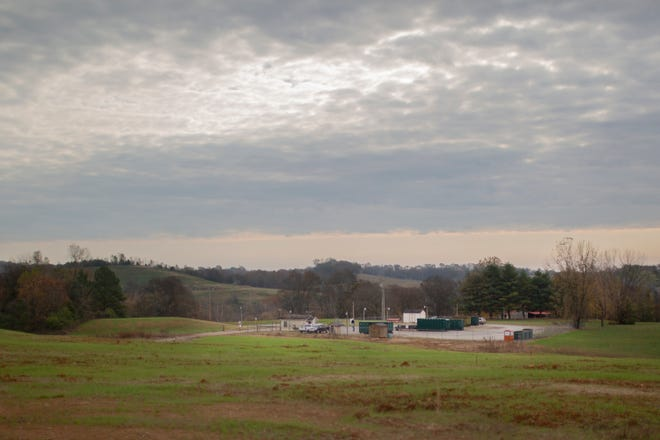 The closed and covered Maury County landfill sits overlooking a waste convenience center and Chickasaw Trace Park north of Columbia on Tuesday, Nov. 5, 2019.
