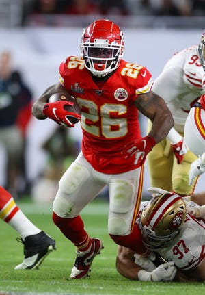 Former Kansas City Chiefs running back Damien Williams (26) runs with the ball in the fourth quarter against San Francisco 49ers in Super Bowl 54. Williams hopes to have a similar role with the Chicago Bears as he did with the Chiefs.