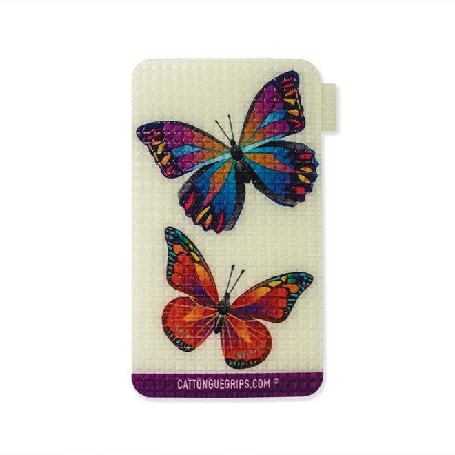 CatTongue phone grips start at $12.99 and come in a huge assortment of patterns and colors, such as Missy's Butterfly.