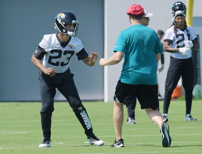 Jaguars CB (23) CJ Henderson during drills at Tuesday's minicamp session, The Jacksonville Jaguars held their Tuesday morning session of the team's mandatory minicamp at the practice fields outside TIAA Bank Field, June 15, 2021.