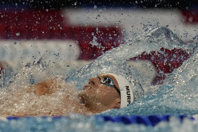 Ryan Murphy participates in the men's 100 backstroke during the U.S. Olympic Swim Trials on Monday night.