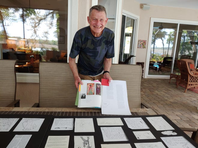 """Jerry Domask prepares sketches, poems and narrative to accompany the replica of a cell occupied by prisoner of war Ted Gostas for the upcoming """"Then & Now"""" art exhibit. Army veterans Domask, Gostas and six other veteran artists will share their art at the St. Augustine Art Association exhibit beginning Friday, July 2."""