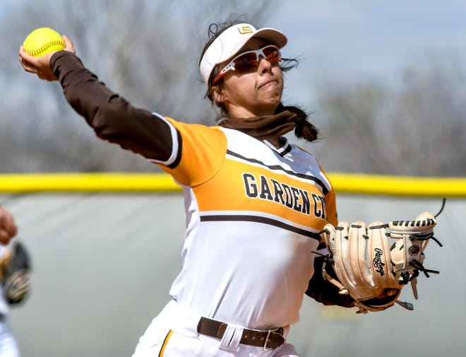 Garden City Community College shortstop Nya Chacon makes a throw to first base for an out after scooping up a Barton County grounder in March at Tangeman Sports Complex. Chacon has been selected as a second team NJCAA All-American.