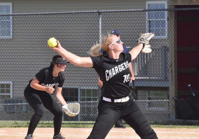 Charger Jenna Drish pitches to a Monmouth-Roseville Titan batter during the regional game in Orion.