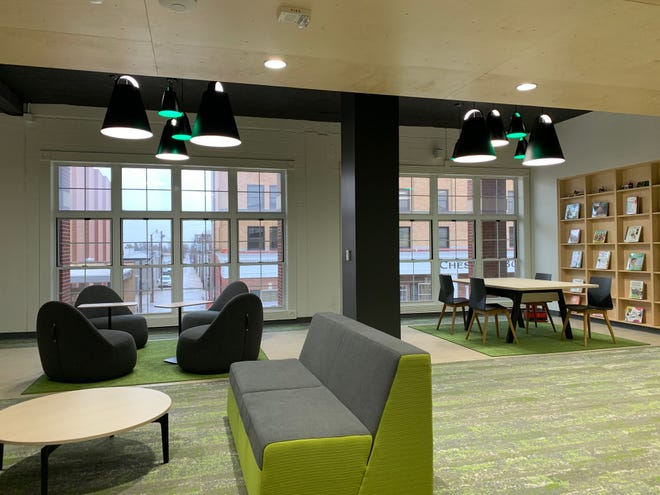 New furniture is displayed on the second floor of the newly-renovated Hays Public Library. The Library will host a ribbon cutting   on Friday to celebrate the new renovations.