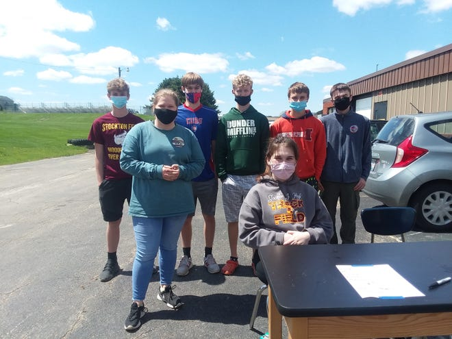 The Stockton FFA held plant sales May 5 and 20. Pictured, from left. Back: Will Westaby, Charlie Breed, Joseph Brudi, Karl Hubb, and David Lancaster. Front: Katie Bartch and Jenna Haas.