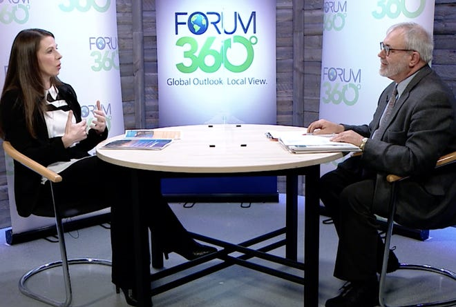 Amanda Weinstein, University of Akron economist, talks about the Northeast Ohio economic outlook with Forum 360 host Bill Saus, recorded at HCTV.