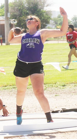 Cheraw High School's competes in the shot put at the Rocky Ford Invitational last Friday. Provost is in a position to qualify for the Class 1A State Meet in both the shot put and the discus.