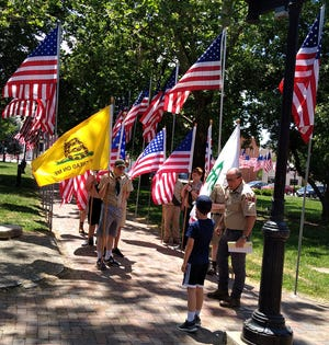 Boy Scout Troop 332 displayed flags in Chandler Park as part of the Macomb Elks Lodge Flag Day ceremony.