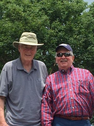 Lawrence Hahn, Tournament host and Boys & Girls Club of Oak Ridge Executive Director Emeritus with Lt. Gov. Randy McNally, former Club member and longtime Club supporter. The photo shows them addressing the tournament field prior to last year's event.