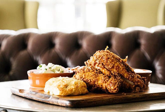 Sunday fried chicken dinners at Buccan are served with side dishes