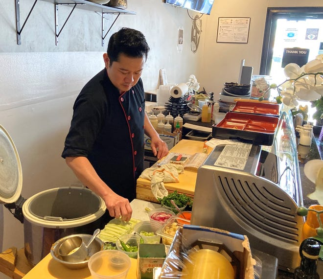 Pasakorn Moopun, owner of OKA Sushi and Thai, has given customers ordering pickup a 10% discount on their orders since the pandemic began in March 2020.