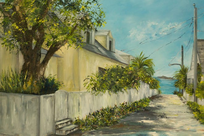 """Lupe Lawrence, a painter who is best known for her landscapes and cityscapes, is the featured artist at the exhibition. This is one of her works titled """"Island Cove."""""""