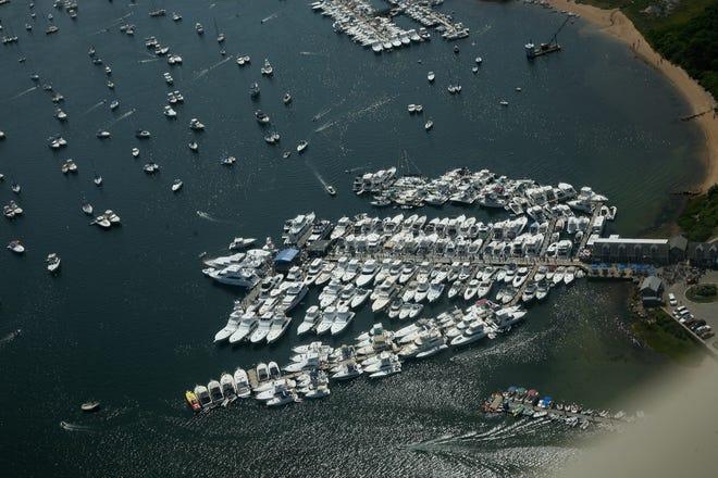An aerial view of Champlin's Marina