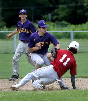 Wheeler shortstop Grayson Sparr tags out Block Island's Cole McGinnes, who was trying to steal second base in the second inning on Tuesday afternoon.