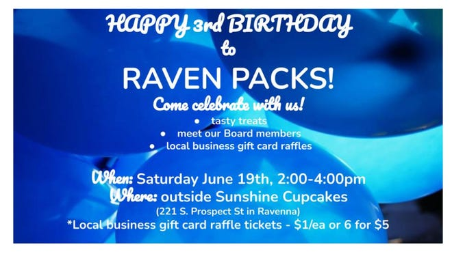 """Raven Packs is celebrating its third """"birthday"""" outside of Sunshine Cupcakes Etc. on Saturday"""