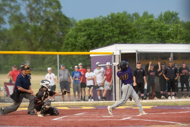 Hononegah's Noah Goddard, shown hitting a game-tying home run in Hononegah's 3-2 victory over Huntley in the Class 4A sectional finals, hit another game-tying home run Monday to help send Hononegah to state for the first time with a 9-7 supersectional victory over Prospect.