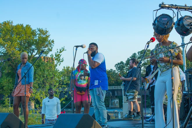 A group performs at the 2020 Vibes Music Festival, which will return Saturday at Howard Park in South Bend with seven musical acts performing and four visual artists displaying their works.