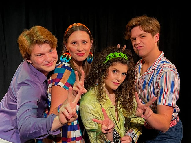 """Jacob Ryan Martinez, left, Grace Cummings, Anna Holmes and Bailey Roberts star in Canterbury Summer Theatre's production of """"8-Track: The Sounds of the '70s"""" that opens Wednesday and continues through July 3 at the Michigan City theater."""