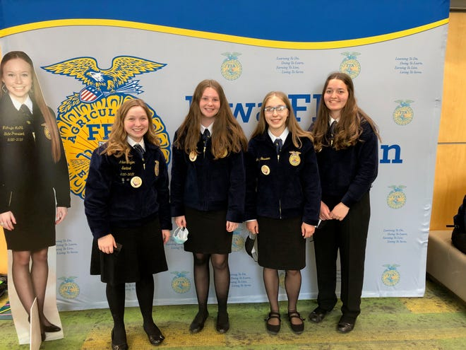 The Roland-Story Biotechnology team of Amber Taylor, Grace Corcoran, Jaclyn Gessner and Claire Jonas who finished with a Gold Rating and were the 9th place team in the State.