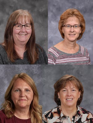 Long-time St. James Schools teachers who retired at the end of the school year are, top from left: Bev Carson and Karen Lahti. Bottom: Elaine Krech and Cathy Bruce.