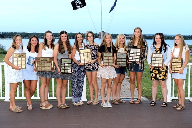 Sault High held its varsity and JV softball awards banquet. Pictured from left to right: Most improved/varsity: Lucy Huskey and Augusta Smith, JV MVP: Hailee O'Connor, JV Coach's award: Kylie Brown, , Coach's award varsity: Alex Menard and Lauryn Brown; Varsity Defensive Player of the Year: Paris Kagarise, Varsity MVP: Audrey Smith, Offensive Player of the year Audrey Smith and Hannah Maurer, JV Defensive player of the year Callie Lahti, and JV Most Improved Hallie LaBonte.Audrey Smith was named to the All-Straits First Team, while Hannah Maurer and sophomore Amber Curtis received All-SAC Second Team honors. Lucy Huskey, Paris Kagarise and Alex Menard received all-conference honorable mention.