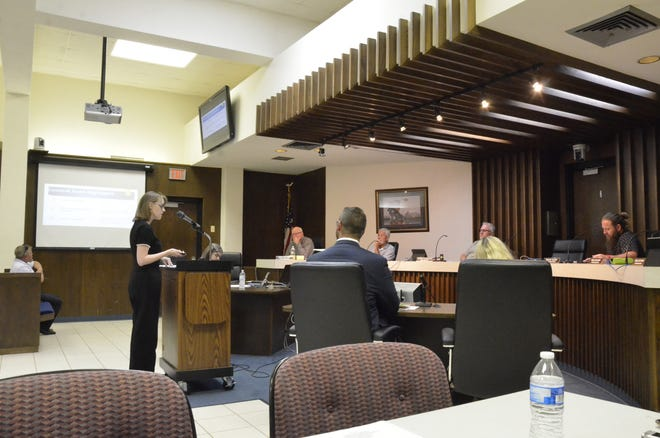 Assistant City Manager Ashley Neel offers a report on the proposed 2021-22 budget during the city's annual budget hearing Monday night.