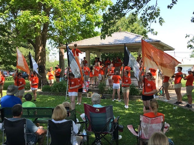 The Kewanee High School band provided musical entertainment for Neponset's Picnic Day, held this past weekend.