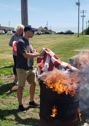 Future West Point Cadet Conner Bryan, along with his grandmother, Cindie Saey, a member of the VFW Auxiliary, took part in the Flag Day Disposal Service at the American Legion in Kewanee on Monday. Bryan recently graduated from Kewanee High School and learned he was accepted into West Point in April. He will leave for the military academy on Sunday to start basic training.