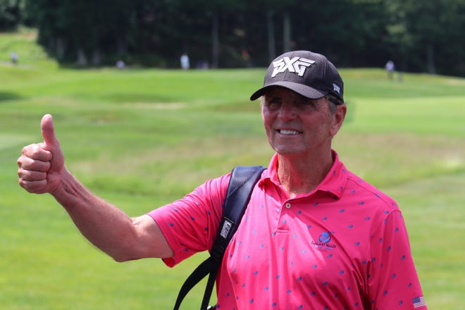 Pleasant Valley pro Paul Parajeckas gives a thumbs-up after finishing a round at the Mass. Open last month at Oak Hill CC.