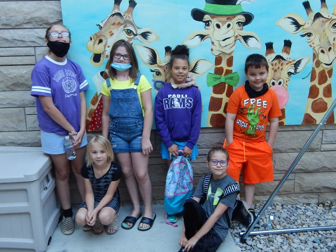 SV Summer School  students visited the completed Sharon Collier Courtyard Playground. Pictured are: front row, left to right, Cora Watson and Zoey Cougler; and back row, Amanda Taylor, Teagan Ball, Bella Jones and Nick Stevens.