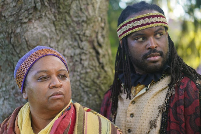 """Wilma Hatton as Papa Shakespeare and Chase McCants as James Hewlett are part of the cast in Actors' Theatre of Columbus' production of """"The African Company Presents Richard III,"""" which opens June 24 in Schiller Park."""