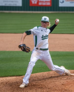 Waxahachie junior lefthander Jared Thomas pitches during a series-clinching win over Killeen Harker Heights in the bi-district round of the Class 6A Region II playoffs at Richards Park in May. Thomas has been named third-team All-State by the Texas High School Baseball Coaches Association.
