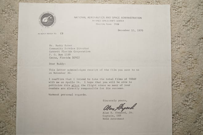 A letter from Alan Shepard to Buddy Baker confirming his intentions to take films of TODAY with him on Apollo 14.