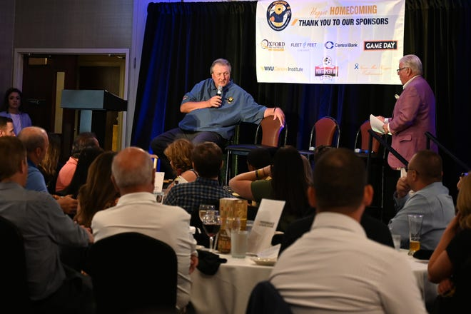 Bob Huggins, former University of Cincinnati Mens Basketball Coach, speaks at the Huggins Homecoming on Monday, June 14, 2021 at the Original Montgomery Inn. The Huggins Homecoming was organized to raise money for cancer research because Huggins lost his mother, Norma Mae to cancer.