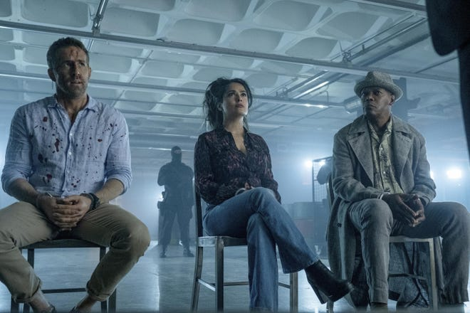 "Ryan Reynolds, Salma Hayek and Samuel L. Jackson in ""The Hitman's Wife's Bodyguard."""
