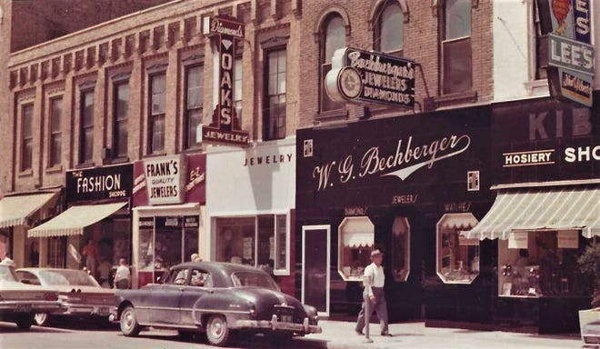 Jewelry stores are side-by-side on South Front Street in Fremont in 1958.