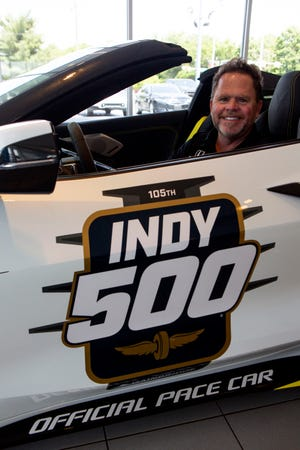 The 2021 Indy 500 Corvette Pace Car is in the showcase room at Coughlin GM of Newark as Michael Shank, owner of Meyer Shank Racing in Pataskala, Ohio, sits inside as he was picking up the car in Newark, Ohio on June 14, 2021. Meyer Shank Racing Team built the car that won the Indianapolis 500 this year. The racing team was allowed to pick the dealership that presented the car to them and Coughlin GM of Newark was picked.
