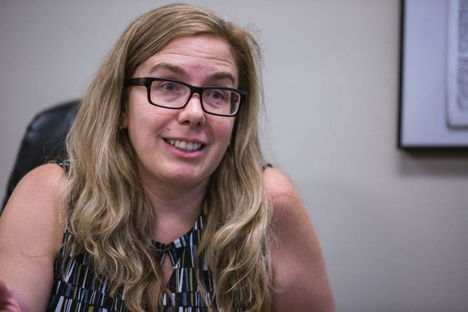 Becky Corran, a professor at Doña Ana Community College who is running for the Las Cruces City Council, is pictured at the Sun-News building on Tuesday, June 15, 2021.