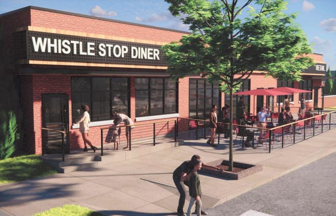 An updated rendering of the planned outdoor patio at the Whistle Stop Diner along Eton in Birmingham.