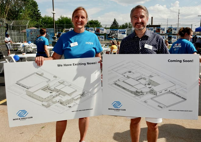 Boys & Girls Club CEO Tracy Ogden and Board President Jeff Trembly unveil plans for the Club's expansion.