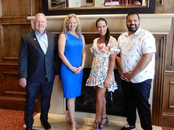 Brian Daly, president of the Association of Fundraising Professionals CA, Desert Communities Chapter; Heidi Maldoon, chair of the 2021 awards committee; Kelly Levy, chair of the Blue Ribbon Award selection committee, and Josh N. Zahid, event chair of National Philanthropy Day in the Desert.