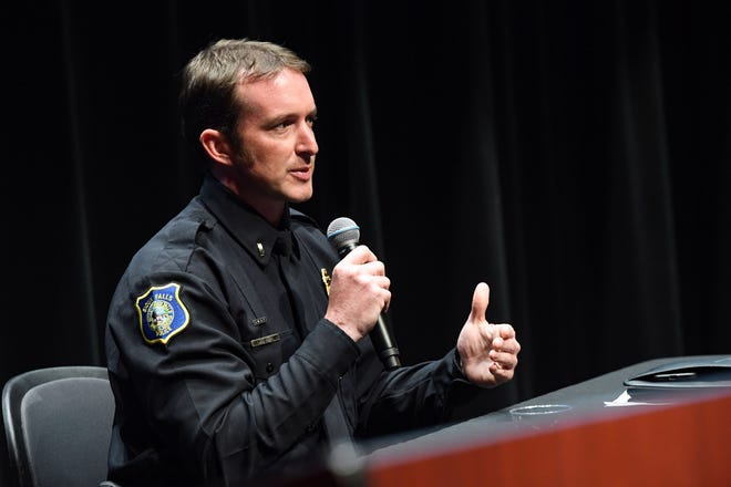 """Lt. Jon Thum speaks during a """"Conversation with the Candidates"""" as finalists for Sioux Falls Chief of Police on Monday, June 14, 2021, at the Washington Pavilion in Sioux Falls."""